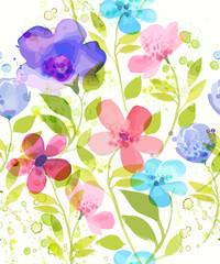 Watercolor flower  seamless pattern. Vector illustration