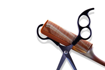 Comb and Scissors isolate on White background
