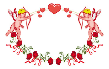 Oval label with Cupid, roses and hearts. Raster clip art.