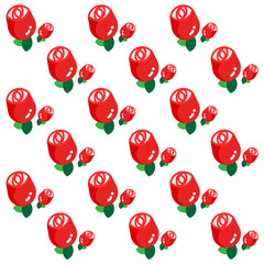 RED ROSES PATTERN Simply graphic red roses with green leaves arranged in pattern on the white background.