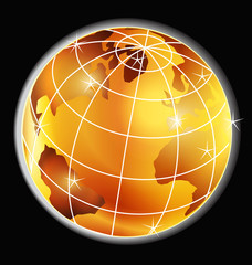 World map globe logo vector