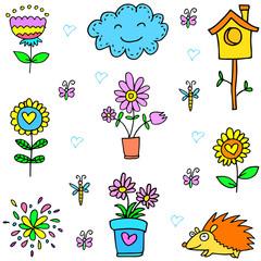 Doodle of spring flower item set