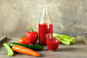 Fresh juice from vegetables tomato, pepper, celery, carrots, cuc