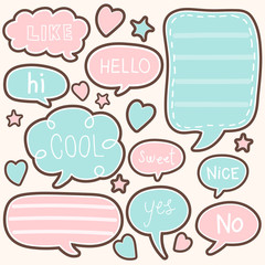 set of cute chat , talk , thought. bubbles sticker. vector illustration.