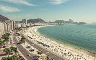 People on Copacabana Beach in Rio de Janeiro,Brazil