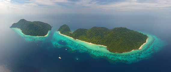 Aerial panorama view on tropical islands