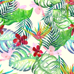 Vector illustration of green palm tree leaf seamless pattern.