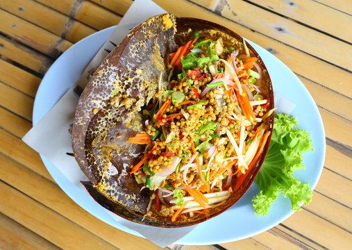 Thai food, spicy horseshoe crab salad