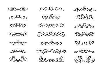 Set of hand drawn calligraphic design elements.