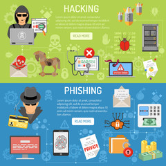 Cyber Crime hacking and phishing Banners