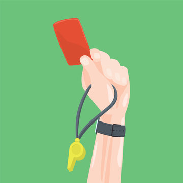 Soccer / Football Referee Hand With Red Card Whistle. Cartoon Style Vector Illustration.