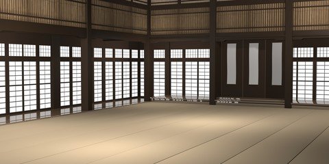 Aluminium Prints Martial arts 3d rendered illustration of a traditional karate dojo or school with training mat and rice paper windows.