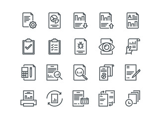 Report. Set of outline vector icons. Includes such as Auto Reports, Calculation, Settings, Generate and more.