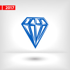 Diamond icon, vector illustration. Flat design style