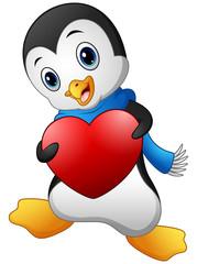 Cartoon penguin holding a heart