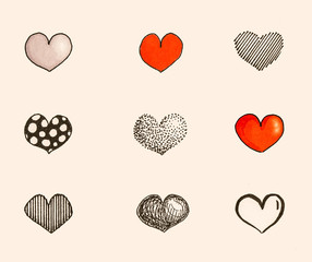 mine hand-drawn heart icons