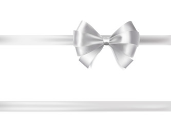 silver ribbon bow on white. decorative design elements
