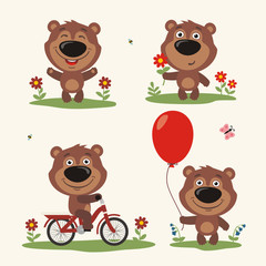 Vector set isolated bear plays in the meadow. Collection of teddy bear on bicycle, with balloon and flower in cartoon style.