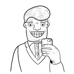 Cartoon man taking self portrait with his mobile phone