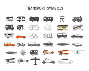 Transport vector shapes and elements for creation your own outdoor labels, wilderness retro patches, adventure vintage badges, hiking stamps. Rv trailers, planes, biplanes, airships