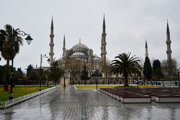 blue mosque, the Sultanahmet mosque, Istanbul winter cloudy day