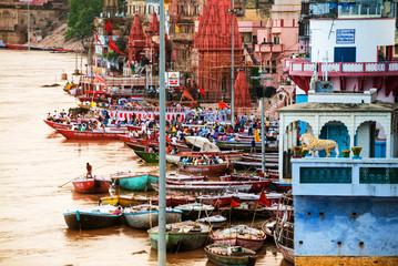 Varanasi, India. Ganges river aerial view