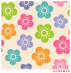 Colorful cute flower seamless vector pattern