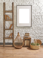stairs and frame in front of the decorative white brick wall concept