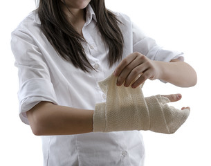 Teen Girl Wrapping Her Hand Isolated