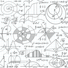 Math vector seamless pattern with formulas, figures and equations handwritten on grid copybook paper