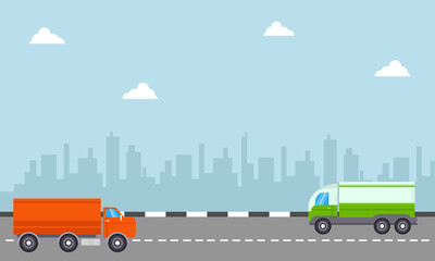 Delivery truck with city backgrounds