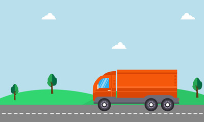 Vector of delivery truck with landscape backgrounds