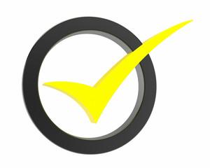 yellow Correct mark symbol