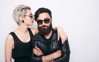 beautiful couple of bearded man and blond young woman