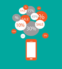 Mobile phone with SALE bubbles vector