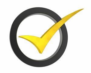 gold Correct mark symbol