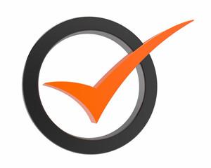 Orange Correct mark symbol
