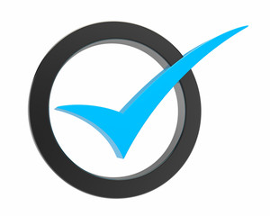 blue Correct mark symbol