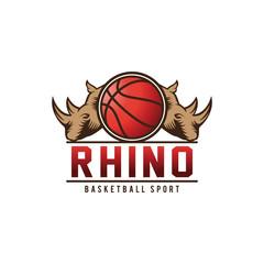 Rhinos basketball sports logo