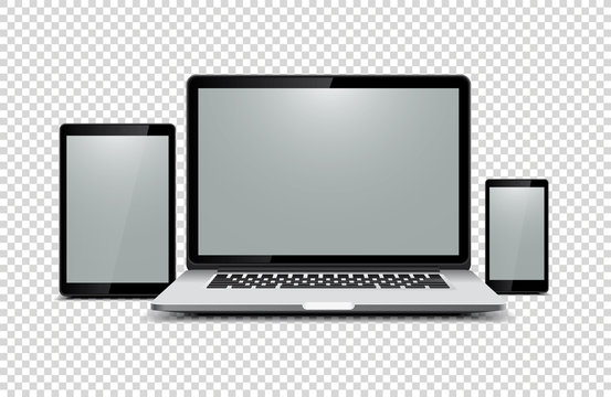 Black laptop, tablet, phone on transparent background