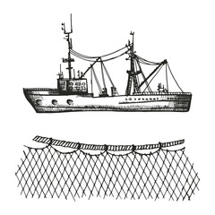 trawler and sketch. fishing nets and boat set of vector illustration