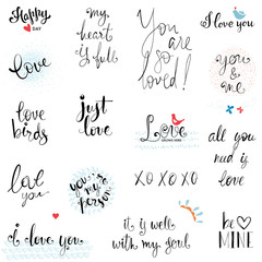 Happy Valentine's Day vector typographic design set.