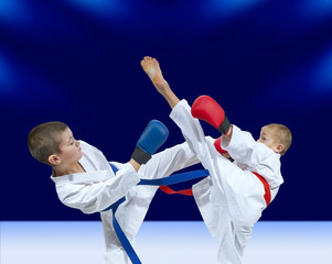 High kicks athletes are beating in karategi