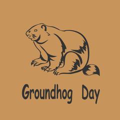 vector illustration marmot icon. Groundhog Day