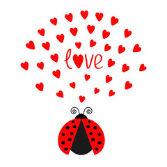 Red flying lady bug insect with hearts. Cute cartoon character. Word Love Greeting card. Happy Valentines Day. White background. Flat design.
