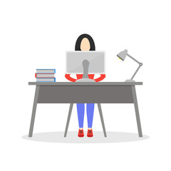Girl sitting at desk with computer, lamp and books. Business woman working in office. Employee working day. Character design. Trendy modern flat design. Vector illustration isolated on white.