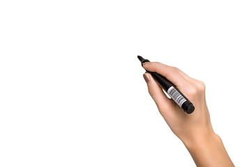 Female hand holding a black marker