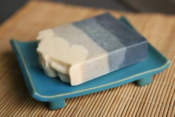 Natural handmade soap. Bar of soap in soapbox.