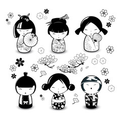 Kokeshi Dolls in black and white style