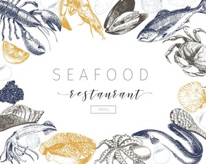 Vector hand drawn seafood banner.Lobster, salmon, crab, shrimp, ocotpus, squid, clams.